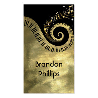 Piano Keys and Music Notes Golden Pack Of Standard Business Cards