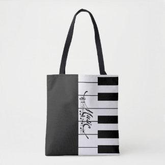 Piano Keys and Music Notes - Tote Bag
