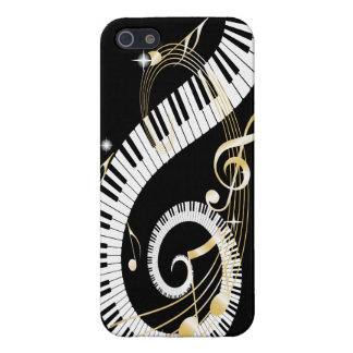 Piano Keys and Swirling Golden Music Notes iPhone 5 Cases