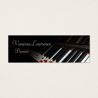 Piano keys black elegant skinny mini business card