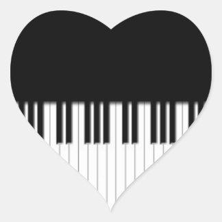 Piano Keys black & white Heart Sticker