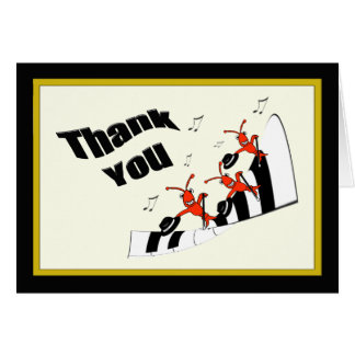 Piano Keys Dancing Crawfish / Lobster Thank You Card