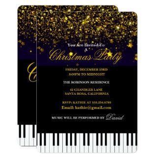 Piano Keys & Gold Glitter Christmas Party Card