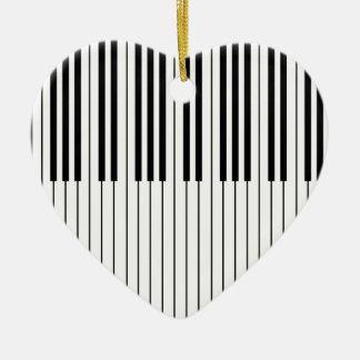 Piano Keys ivory white and black Ceramic Heart Decoration