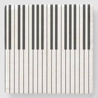 Piano Keys ivory white and black Stone Coaster