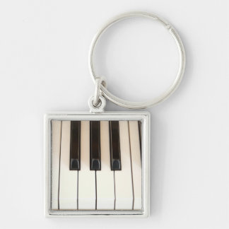 Piano Keys Silver-Colored Square Key Ring