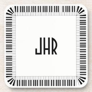 Piano Keys Music Border Optional Initials Set of 6 Coaster