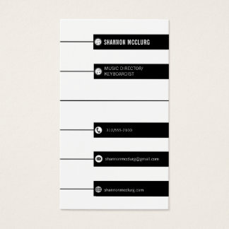 piano keys music director vertical business card