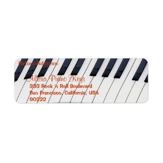 PIANO KEYS Music Lovers Return Address Labels