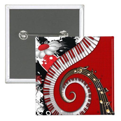 Piano Keys Music Notes Grunge Floral Swirls Pinback Button
