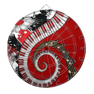 Piano Keys Music Notes Grunge Floral Swirls Dartboard With Darts