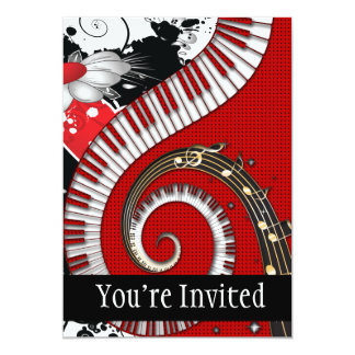 Piano Keys Music Notes Grunge Floral Swirls 13 Cm X 18 Cm Invitation Card