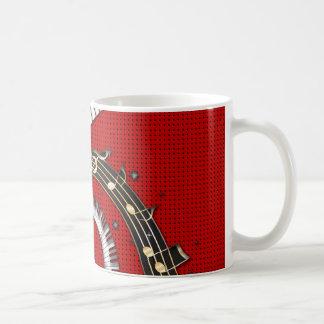 Piano Keys Music Notes Grunge Floral Swirls Coffee Mugs