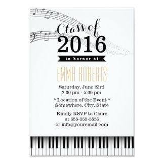 Piano Keys & Music Notes Musical Graduation Party 9 Cm X 13 Cm Invitation Card