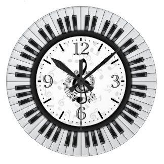 Piano Keys Musical Notes Wall Clock