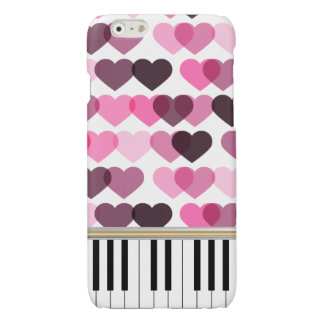 Piano Keys Pink Love Hearts Pattern
