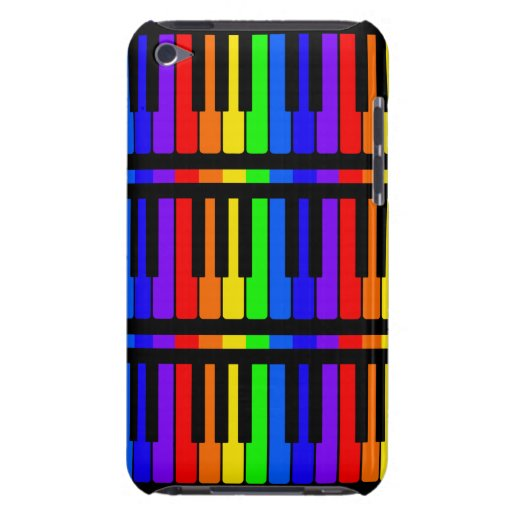 Piano Keys Rainbow And Black Pattern iPod Touch Covers