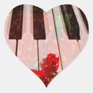 Piano Keys,Roses & Music Notes_ Heart Stickers