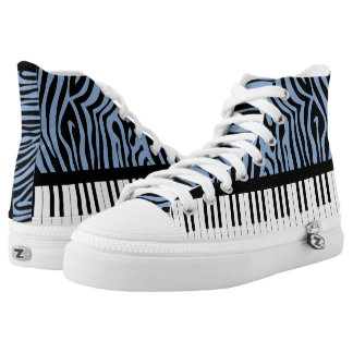 Piano Keys Sky Blue and black Zebra Print Printed Shoes