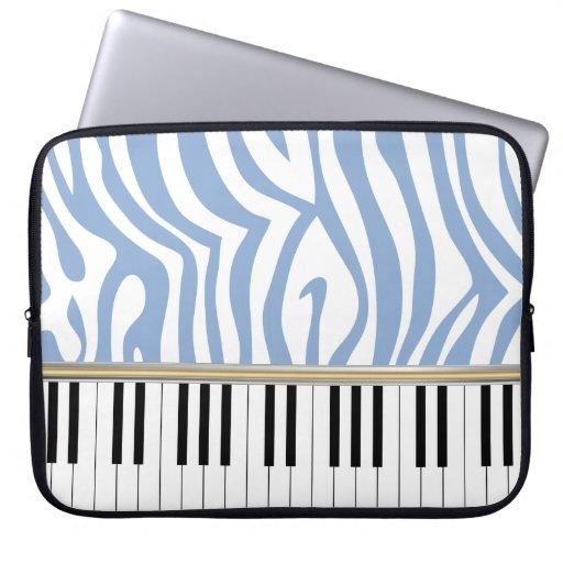 Piano Keys Sky Blue Zebra Print Laptop Sleeves