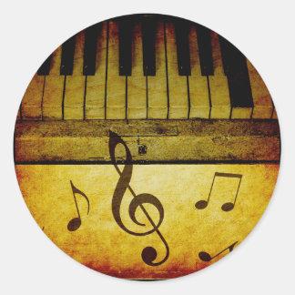 Piano Keys Vintage Classic Round Sticker