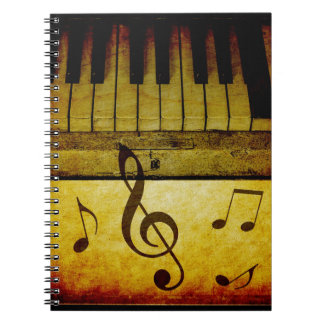 Piano Keys Vintage Spiral Notebook
