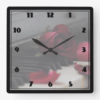 Piano Keys with a Red Rose Wallclock