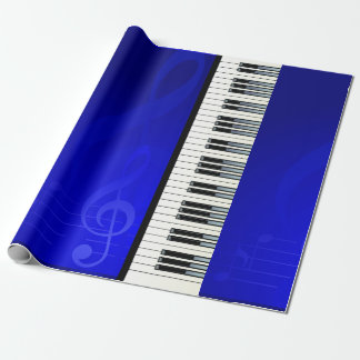 Piano Keys with Blue effect musical notes Wrapping Paper