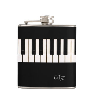 Piano Keys with Initials Hip Flask