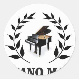 piano man black limb round sticker