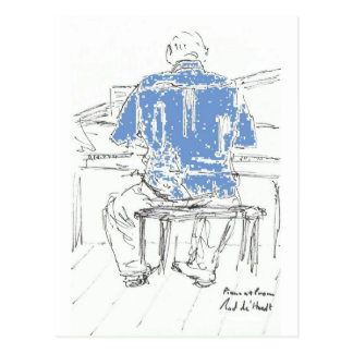 Piano Man in Blue shirt any occasion your words Postcard