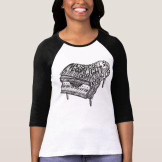 Piano Music Illustration Ladies Fitted T-Shirt