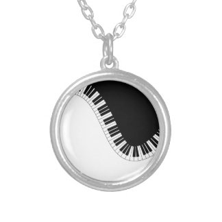 PIANO MUSIC SILVER PLATED NECKLACE