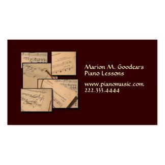 Piano Music Teacher Standard Business Card