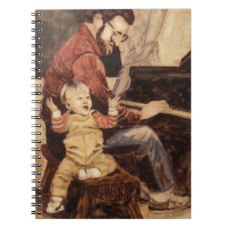 Piano Musician Father and Son Spiral Note Book