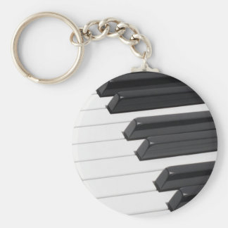 Piano or Organ Keyboard Keys Basic Round Button Key Ring