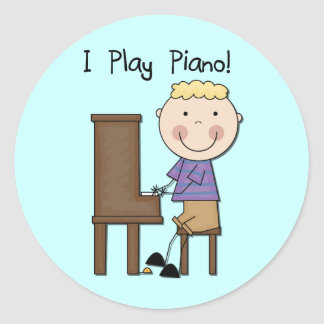 Piano Player Tshirts and Gifts Classic Round Sticker