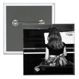 Piano Practice. Black and White Photograph 15 Cm Square Badge