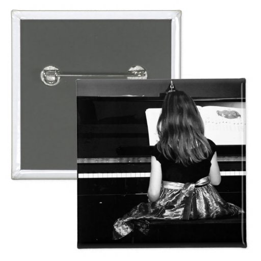Piano Practice. Black and White Photograph Buttons
