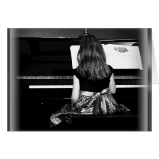 Piano Practice. Black and White Photograph Card