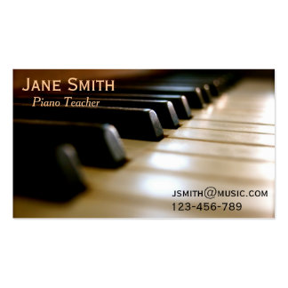 Piano Teacher freelance music tutor professional Business Card Template