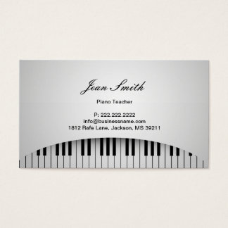 Piano Teacher Pure White Piano Keys Music Business Card