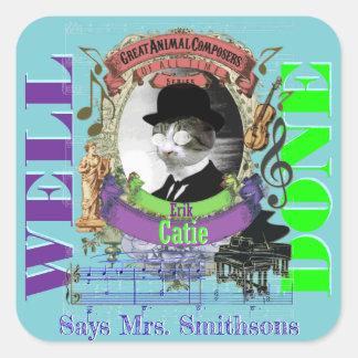 Piano Teacher Reward Stickers Erik Catie Satie Cat