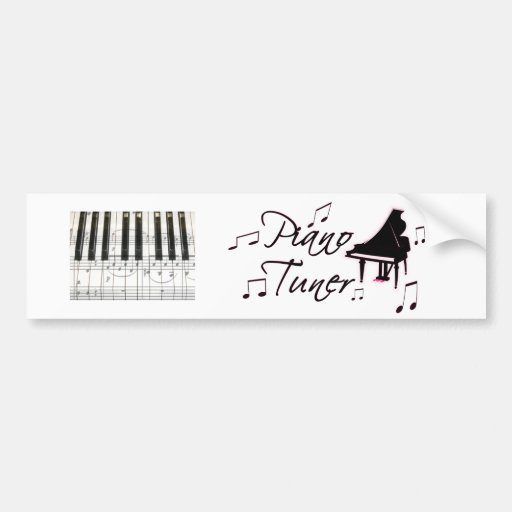 Piano Tuner Music Notes with Pink Pedals and Trim Bumper Stickers