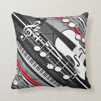 Piano Violin Notes Throw Pillow