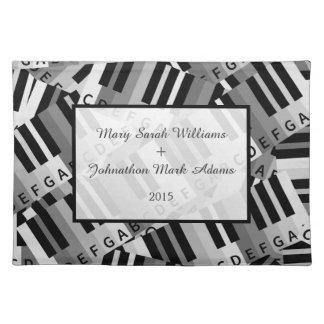Piano Wedding Black and White Keepsake Place Mat
