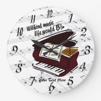 Piano - Without Music Life Would B Flat Wall Clock