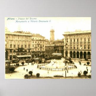Piazza del Duomo, Milan, Italy Vintage Poster