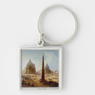 Piazza del Popolo Rome oil on canvas Keychains