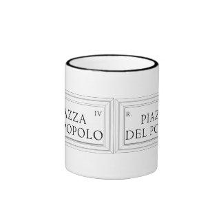 Piazza del Popolo, Rome Street Sign Ringer Mug